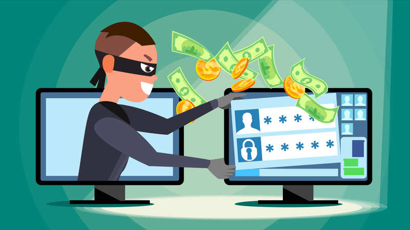 Hacker Using Personal Computer Stealing Credit Card Information, Personal Data, Money Illustration