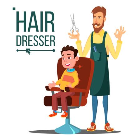 Hairdresser And Child, Teen Vector Illustration