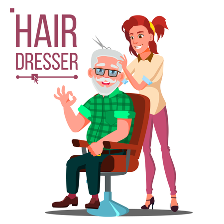 Hairdresser And Old Man Vector Illustration
