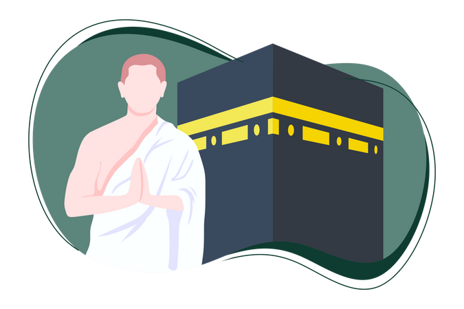 Hajj Mabrour With Kabbah Illustration