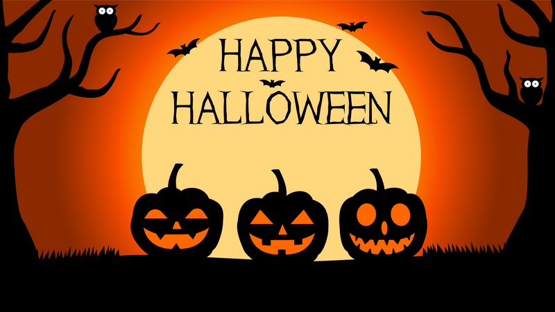 Halloween Background with silhouettes of pumpkins under full moon Illustration