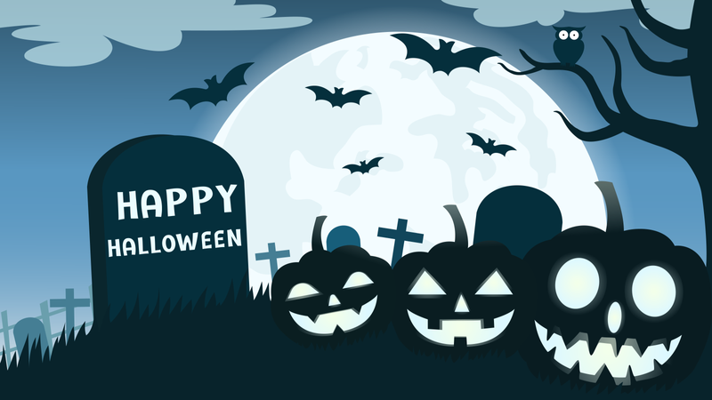 Halloween background with smile pumpkin devil in graveyard and the full moon Illustration