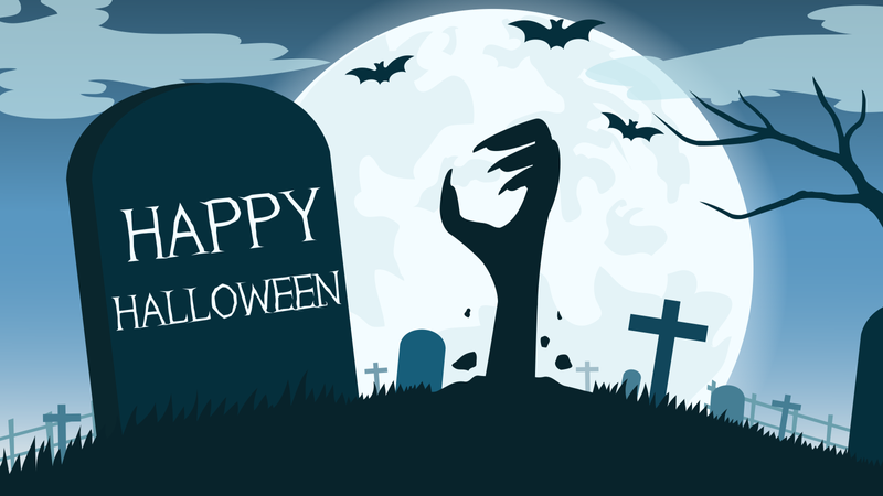 Halloween background with zombies hand in graveyard and the full moon Illustration