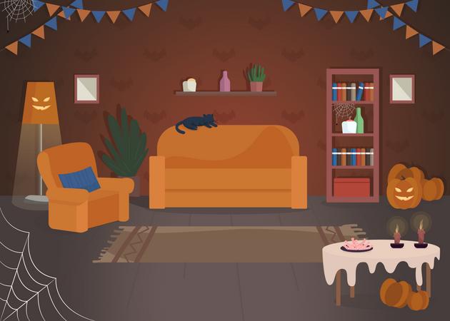 Halloween house decoration Illustration