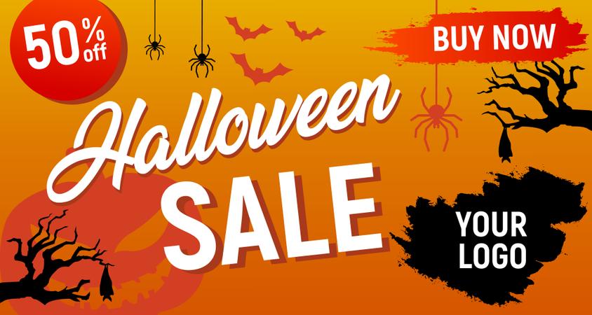 Halloween Offer Banner Illustration
