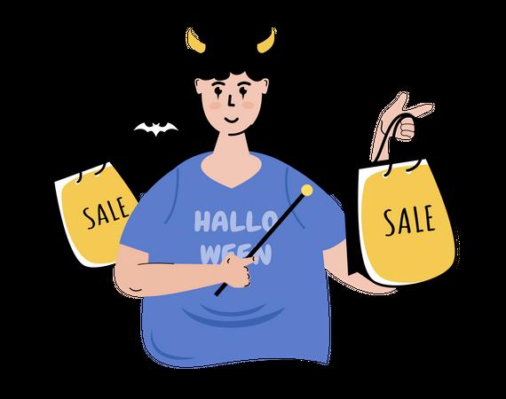 Halloween season shopping sale Illustration