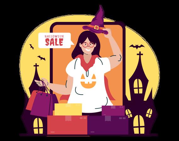 Halloween shopping sale Illustration