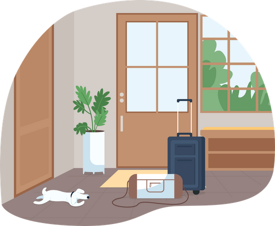Hallway with baggage for family trip Illustration