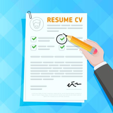 Hand circling check on resume Illustration