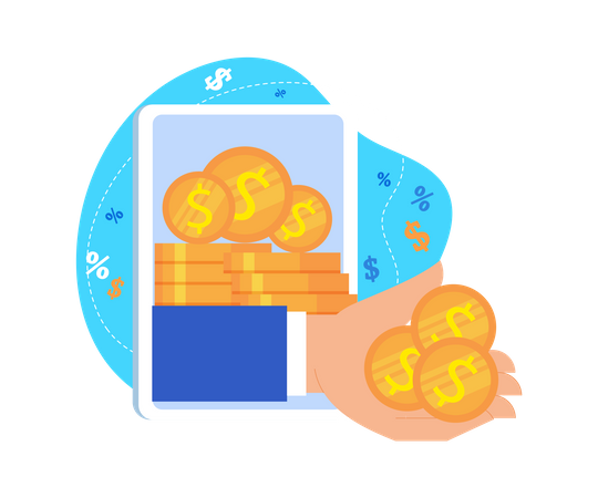 Hand Give Money from Tablet Screen as Online Income Illustration