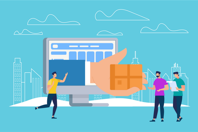 Hand Giving Parcel Box Through Huge Monitor Screen Illustration