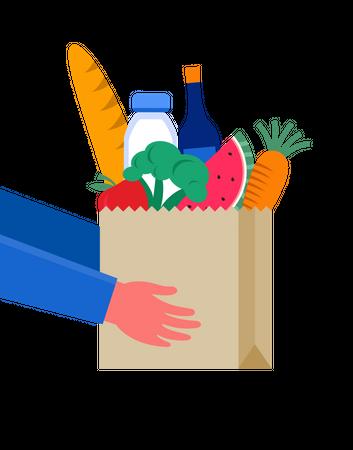 Hand holding bag of vegetables Illustration