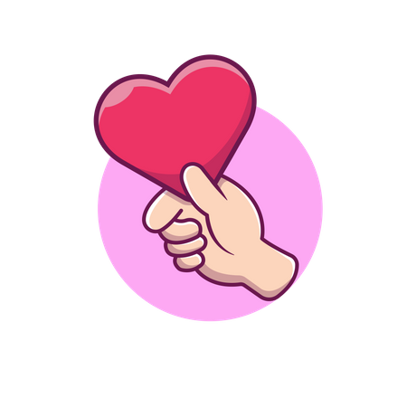 Hand holding heart Illustration