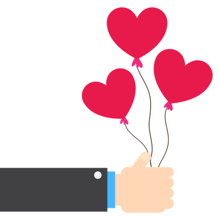 Hand holding heart shape balloon Illustration
