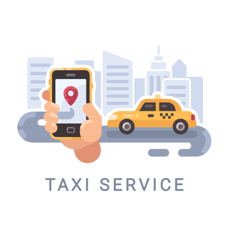 Hand Holding Smartphone With Taxi Service Mobile App And A Car On The Road Illustration