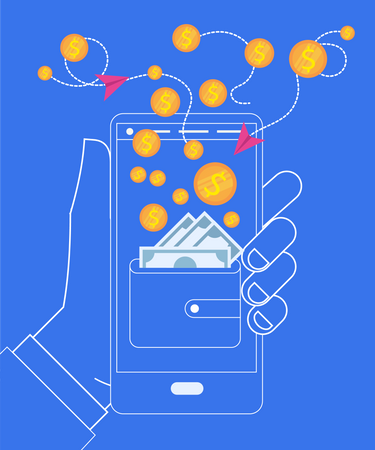 Hand Holding Smartphone with Wallet and Coins Illustration