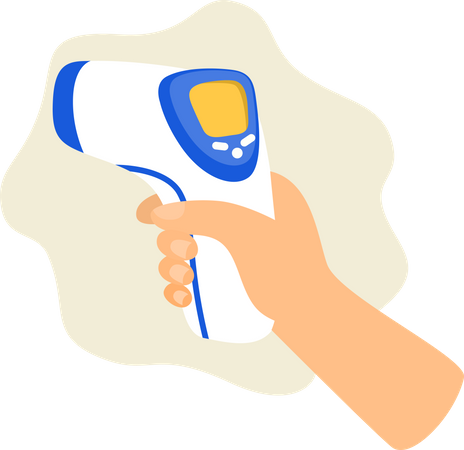 Hand holds an infrared thermometer to measure body temperature Illustration