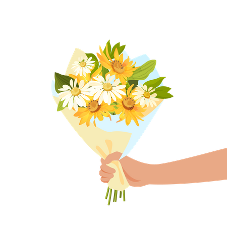 Hand or Person giving beautiful flowers bouquet Illustration