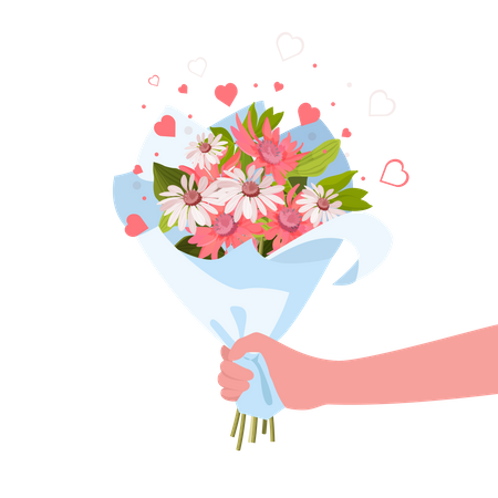 Hand or Person giving flowers bouquet Illustration