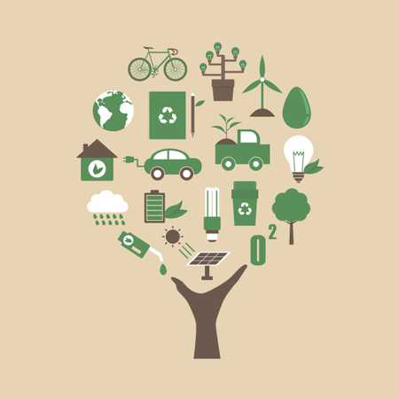 Hand With Ecological Icon Illustration