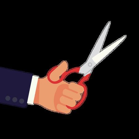 Hand with scissor Illustration