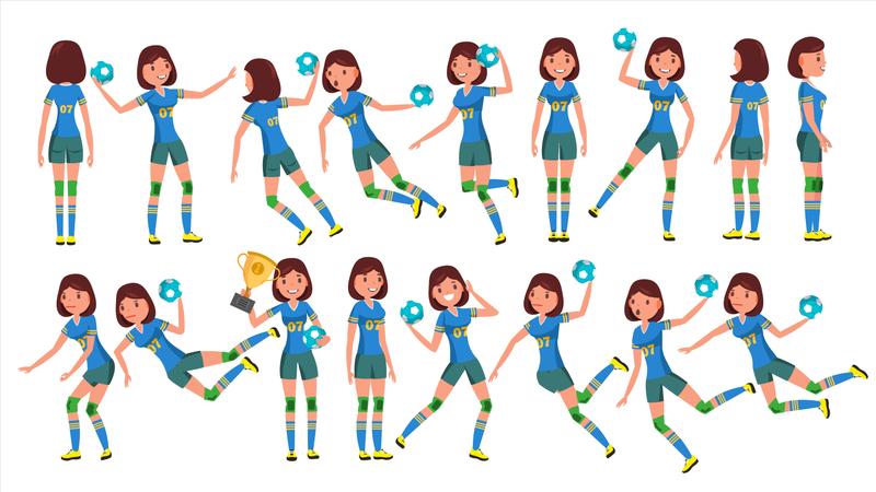 Handball Female Player Illustration