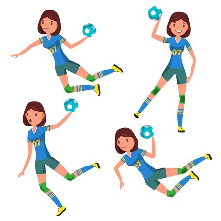 Handball Player Female Vector Illustration