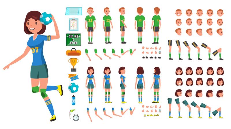 Handball Player Male, Female Vector Illustration