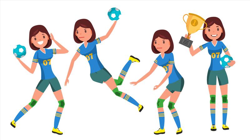 Handball Young Woman Player Illustration