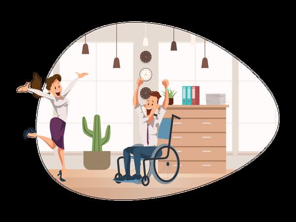 Handicap male employee and female employee smiling Illustration