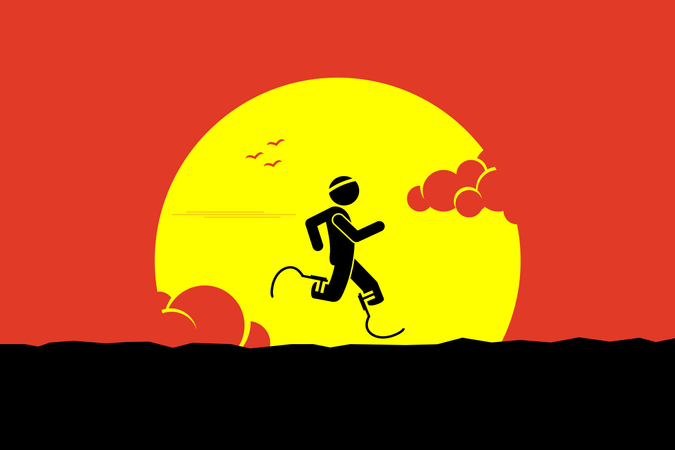 Handicap runner running with running blades or prosthetics leg with a big sun and cloud at the background Illustration