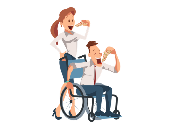 Handicapped Businessman and Office lady eating pizza together Illustration