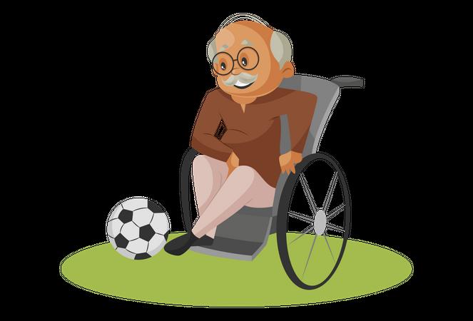 Handicapped Grandfather kicking football Illustration