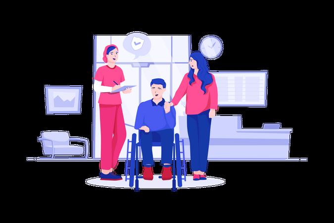 Handicapped man on wheelchair Illustration