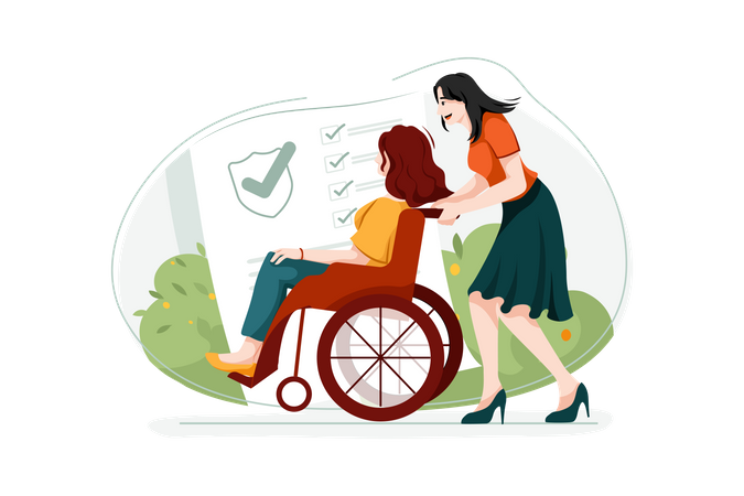 Handicapped woman on wheelchair Illustration