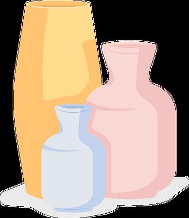Handmade pottery vases Illustration