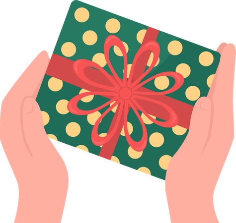 Hands give wrapped gift Illustration