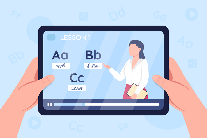 Hands hold tablet with video on English learning class Illustration