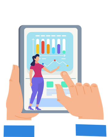 Hands Touching Tablet Screen with Woman Presenting Illustration