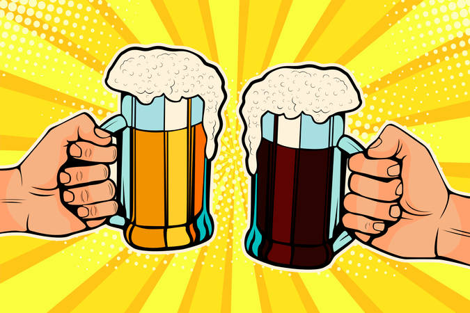 Hands with mugs of beer Illustration