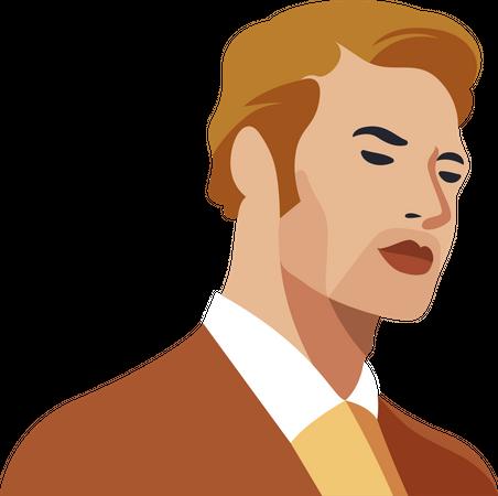 Handsome gentlemen wearing suit Illustration
