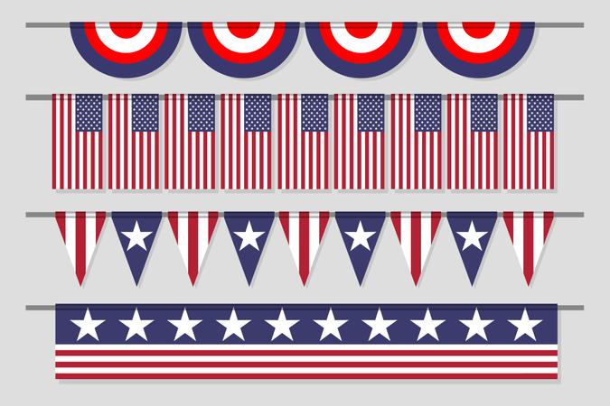 Hanging Decorative USA Banner Flag Set For Independence Day Illustration