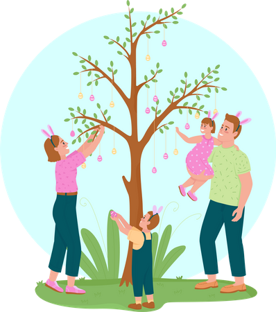 Hanging Easter eggs on tree Illustration