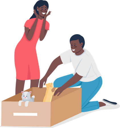 Happy African American couple find homeless cats Illustration