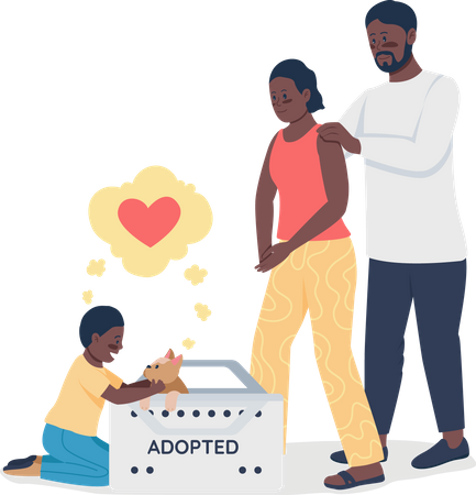 Happy African American family with adopted dog Illustration