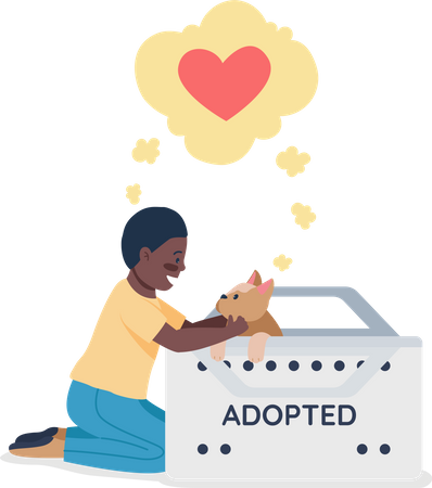 Happy African American kid with adopted dog Illustration