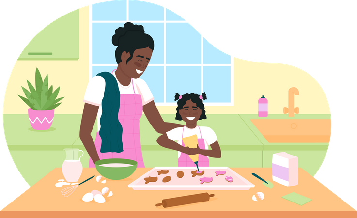 Happy African American mother and daughter bake cookies Illustration