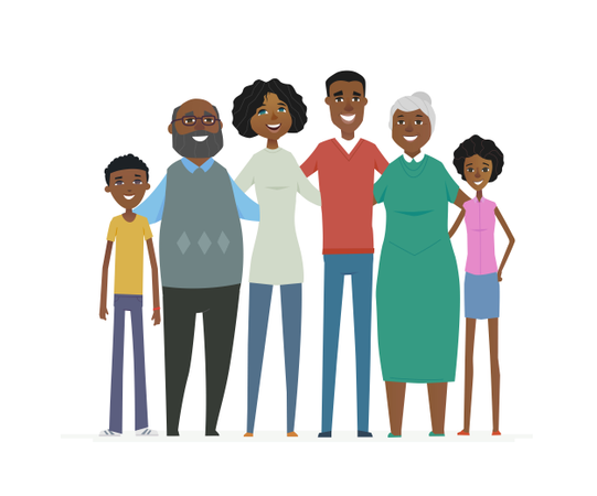 Happy African Family Illustration