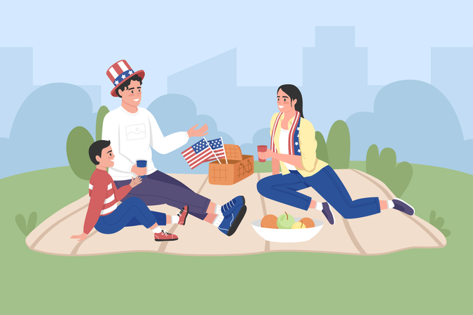 Happy american family celebrate Independence day Illustration
