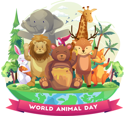 Happy animals at zoo on world animal day Illustration